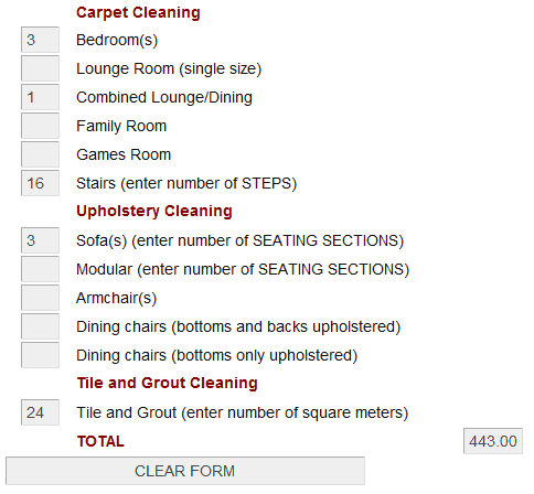 carpet cleaning quote example